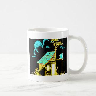 shed, tree, birdhouse, flowers mug