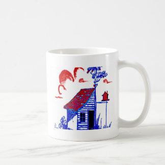 shed, tree, birdhouse,flowers mugs