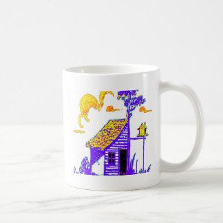 shed, tree, birdhouse, flowers coffee mugs