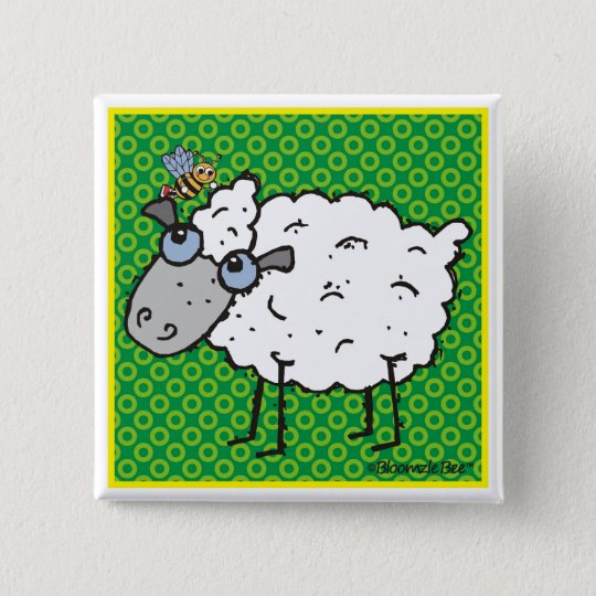 Sheep 15 Cm Square Badge