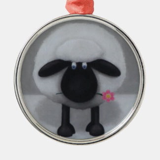Sheep - A Flower For Ewe Silver-Colored Round Decoration