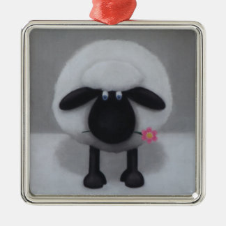 Sheep - A Flower For Ewe Silver-Colored Square Decoration