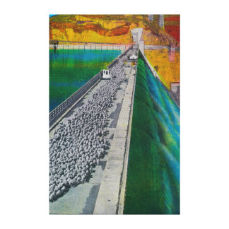 Sheep across Grand Coulee Dam Canvas Print