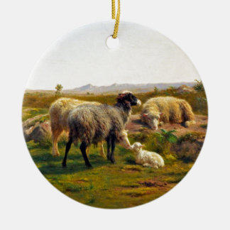 Sheep and a Lamb by Rosa Bonheur Christmas Ornament