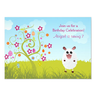 Sheep and Holiday Eggs Birthday Invitation ~ Girls