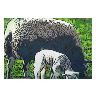 Sheep and lamb cartoon placemat
