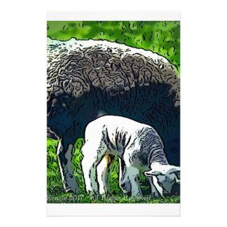 Sheep and lamb cartoon stationery