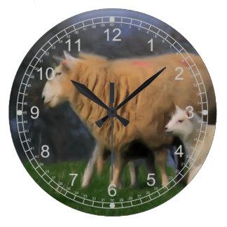 Sheep and Lamb Large Clock