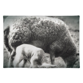 Sheep and lamb mono picture placemat