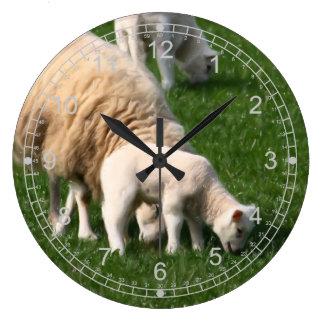Sheep and lambs large clock