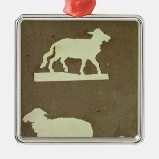 Sheep and Sheep with Lamb Silver-Colored Square Decoration