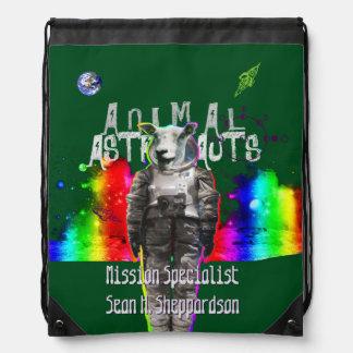 Sheep Animal Astronaut in Rainbow Galaxy Backpacks