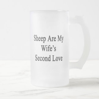 Sheep Are My Wife's Second Love Frosted Glass Mug