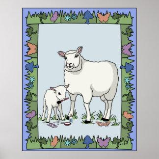 Sheep Artist Pastel Poster