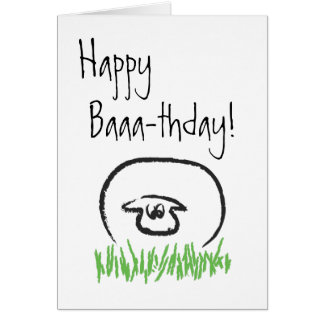 Sheep birthday card (Blank inside)