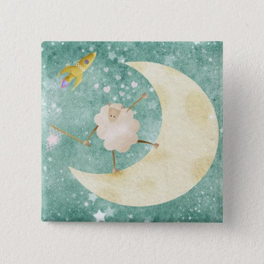 Sheep catching stars - pin badge