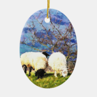 SHEEP CERAMIC OVAL DECORATION