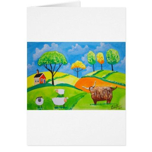 SHEEP COW FOLK PAINTING GREETING CARD | Zazzle
