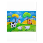 SHEEP COW FOLK PAINTING POST CARD
