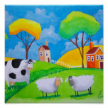 SHEEP COW FOLK PAINTING POSTER