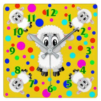 Sheep cute animal nursery baby room colorful square wall clock