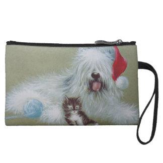 Sheep Dog christmas Wristlet Clutch