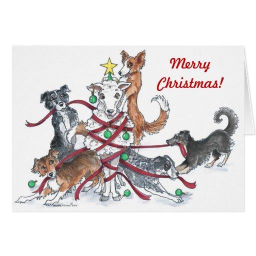 Sheep dog Christmas card