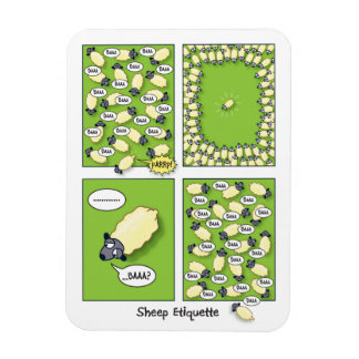 Sheep Etiquette Rectangular Photo Magnet