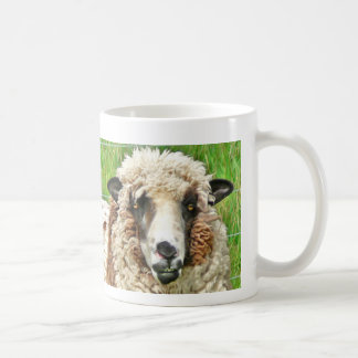 sheep face before coffee basic white mug