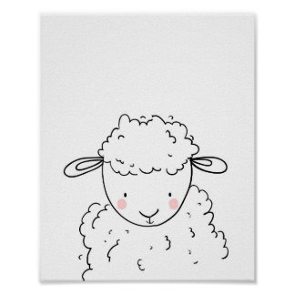 Sheep Farm Animal Nursery Lamb Wall Art Monochrome