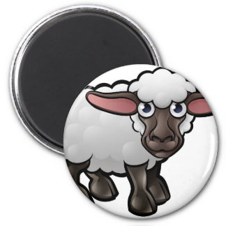 Sheep Farm Animals Cartoon Character 6 Cm Round Magnet