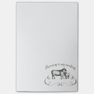 Sheep Farm Funny French Expression Vintage Style Sticky Note