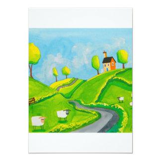 SHEEP FOLK ART PAINTING 13 CM X 18 CM INVITATION CARD