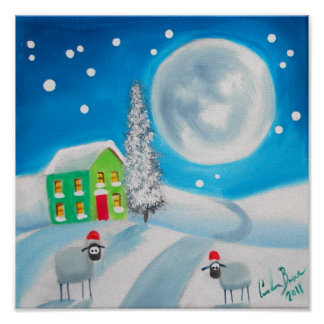 sheep folk painting full moon winter poster