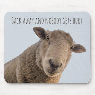 Sheep funny warning back away attack sheep mouse mat