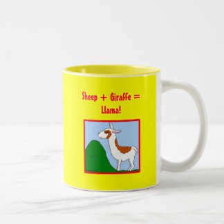 Sheep + Giraffe = Llama! Two-Tone Coffee Mug