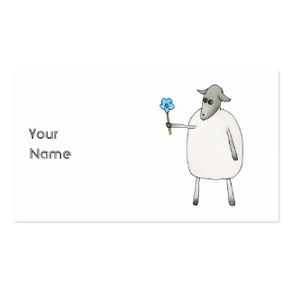 Sheep Giving a Flower. Business Cards