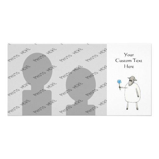 Sheep Giving a Flower. Personalized Photo Card