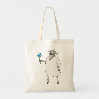 Sheep Giving a Flower. Tote Bag