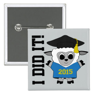 Sheep Grad Wearing Blue & Gold 2015 Tee 2 Inch Square Button