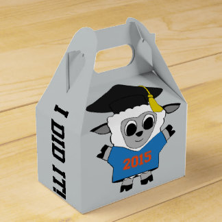Sheep Grad Wearing Blue & Orange 2015 Tee Party Favor Boxes
