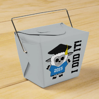 Sheep Grad Wearing Blue & White 2015 Tee Party Favor Boxes