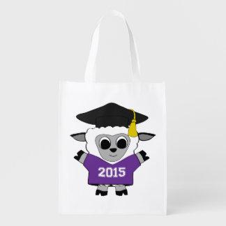 Sheep Grad Wearing Purple & White 2015 Tee Grocery Bag