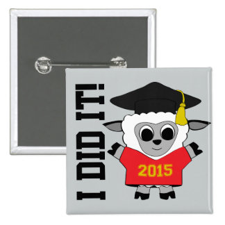 Sheep Grad Wearing Red & Gold 2015 Tee 15 Cm Square Badge