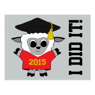 Sheep Grad Wearing Red & Gold 2015 Tee Postcard