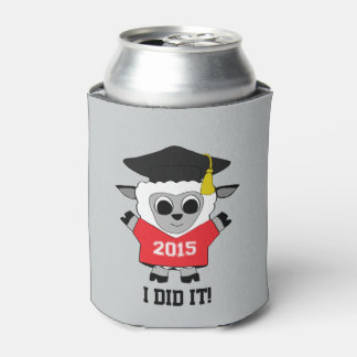Sheep Grad Wearing Red & White 2015 Tee Can Cooler