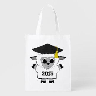 Sheep Grad Wearing White & Black 2015 Tee Reusable Grocery Bag