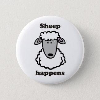 Sheep happens 6 cm round badge