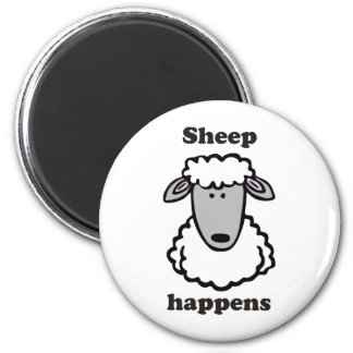 Sheep happens 6 cm round magnet