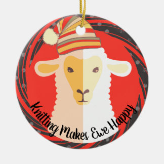 Sheep hat knitting crochet Christmas ornament